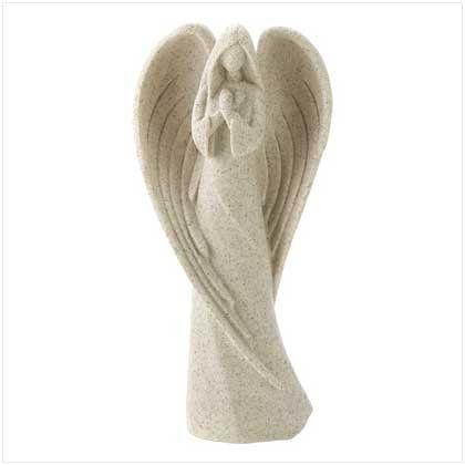 Estilizado escultura do anjo - off white com acabamento em pedra estátua de anjo