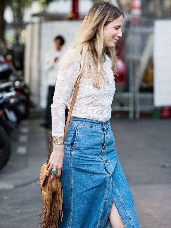 Long denim skirt style – Fashionable skirts 2017 photo blog