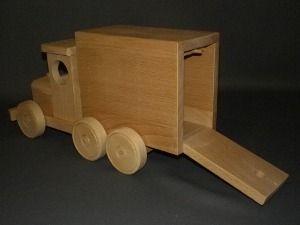 Fourgon jouet en bois camionette avec haillon