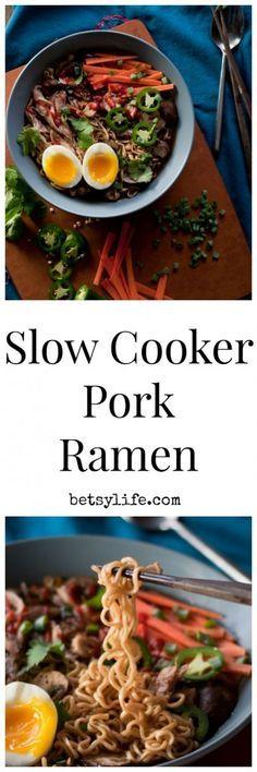 Slow Cooker Pork Ramen Soup |Betsylife.com