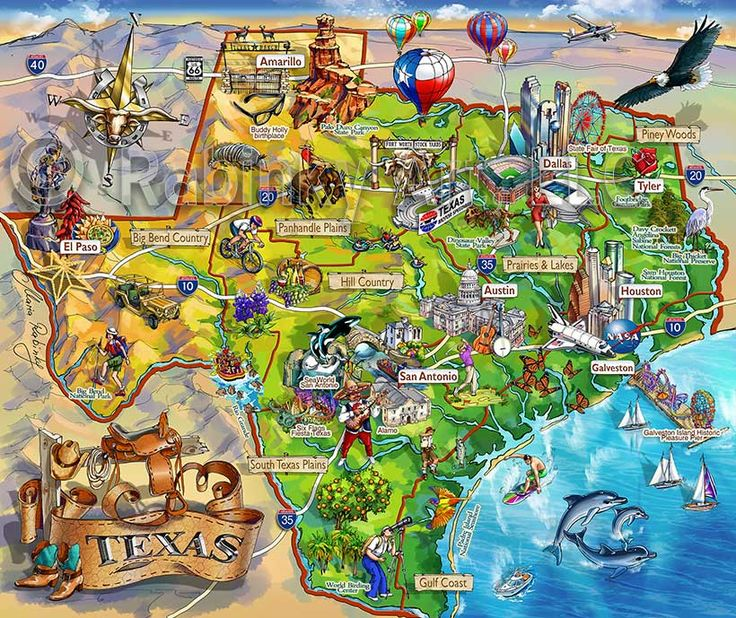 Texas State Map Area Attraction Illustrated map by Maria Rabinky