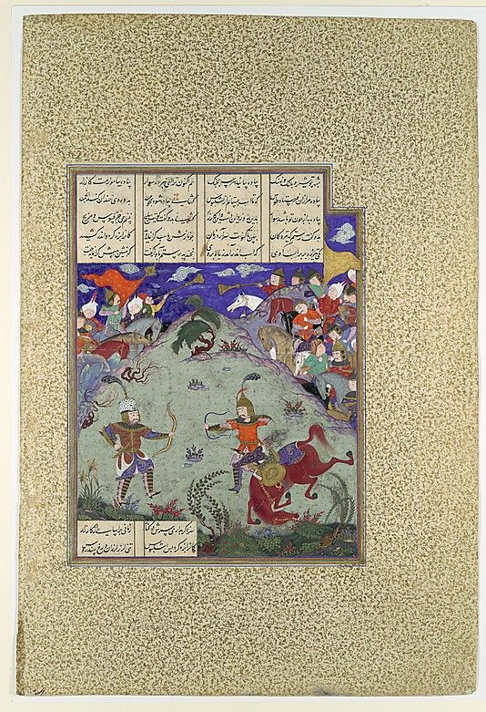 """""""The Combat of Rustam and Ashkabus"""", Folio from the Shahnama (Book of Kings) of Shah Tahmasp Artist: Painting attributed to Mirza Muhammad Qabahat Date: ca. 1525–30 Geography: Iran, Tabriz Medium: Opaque watercolor, ink, silver, and gold on paper Dimensions: Painting: H. 9 3/8 x W. 7 5/8 in. (H. 23.8 x W. 19.4 cm) Entire Page: H. 18 5/8 x W. 12 5/8 in. (H. 47.3 x W. 32.1 cm) Metropolitan Museum of Art 1970.301.40"""