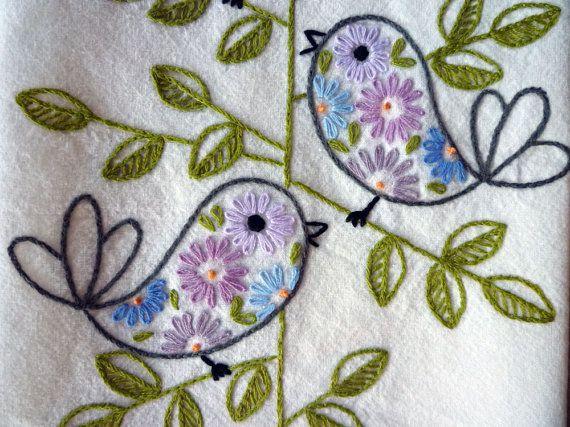 Retro Birds Hand-Embroidered Towel/Tea-Towel/Dishtowel