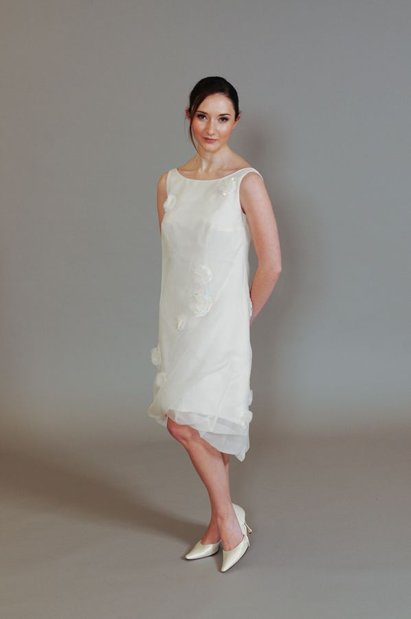 'Bubble' ivory silk & organza twisted dress. Perfect for a short and unusual wedding dress. www.rachellambdesign.co.uk