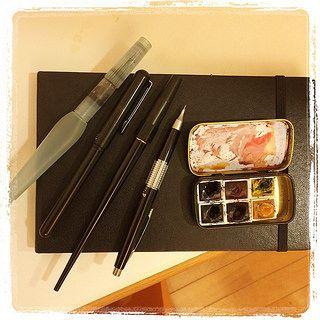 #tools trying to limit myself!!! Pentel brush, pentel pocket brush, platinum carbon, pentel kerry and w&n waterbolor; ultramarine blue, alizarim, aureolin, payne grey, burnt Siena, yellow ochre