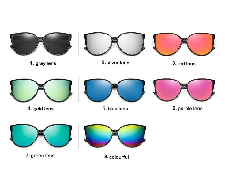Солнцезащитные зеркальные черные очки-бабочки  (в наличии серебряное зеркало) - 17869