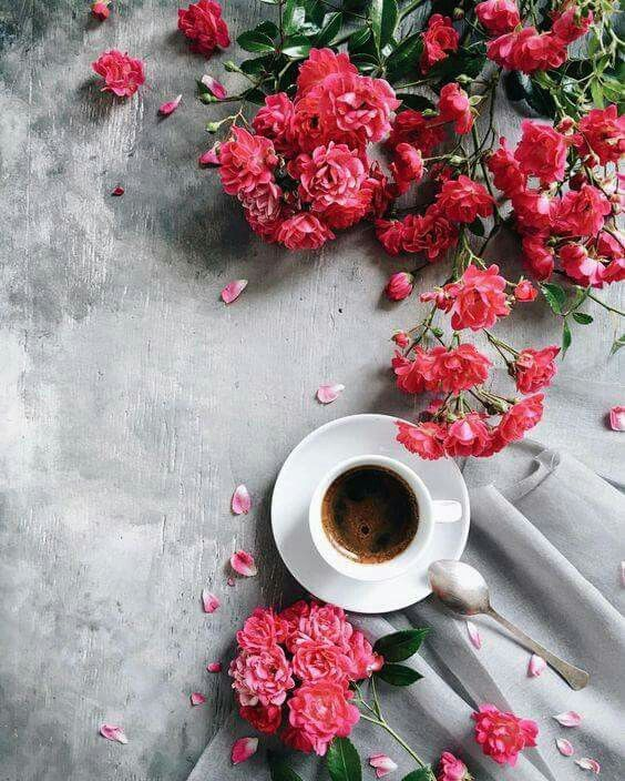 pink flowers coffee cup morning flatlay