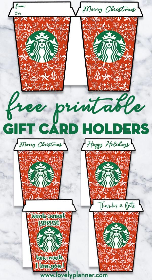 4 Free Printable Christmas Starbucks Gift Card Holders Christmas