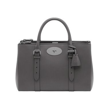 Mulberry - Bayswater Double Zip Tote in Pavement Grey Silky Classic Calf