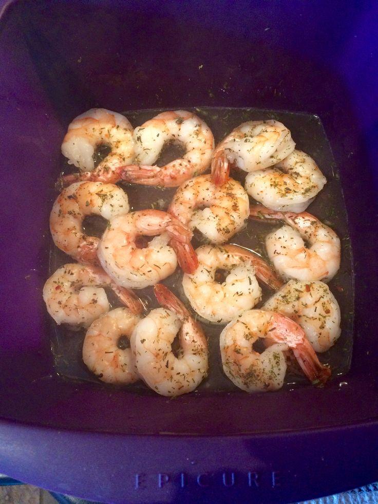 Shrimp cooked in Epicure multi purpose steamer (7 minutes from frozen) More