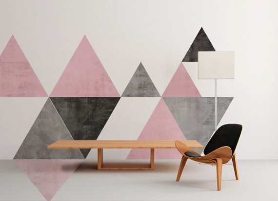 SKU:TriMidGeoFL geométricas - mediados siglo - arte de la pared - Floor Graphics - tela adhesiva - pared etiqueta - etiqueta engomada de la pared - cáscara y del palillo-