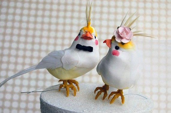 Cockatiel Wedding Cake Topper  Punk Rock Bride
