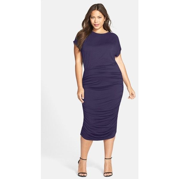 Vince Camuto Side Ruched Midi Dress ($109) ❤ liked on Polyvore featuring plus size women's fashion, plus size clothing, plus size dresses, evening navy, plus size, plus size holiday dresses, blue cocktail dress, blue dress, plus size blue dress and midi dress