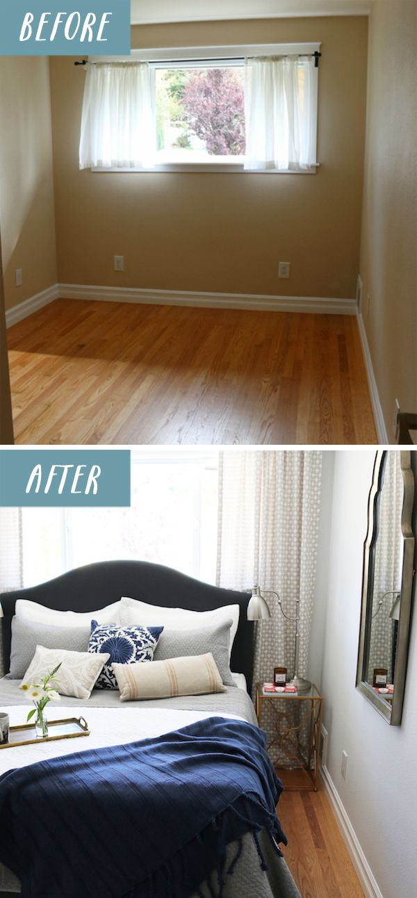 Small Bedroom Makeover - Before and After by The Inspired Room. Walls: The paint color is Glidden Swan White. I love it because it's a really fresh white but it has a very very subtle hint of gray.