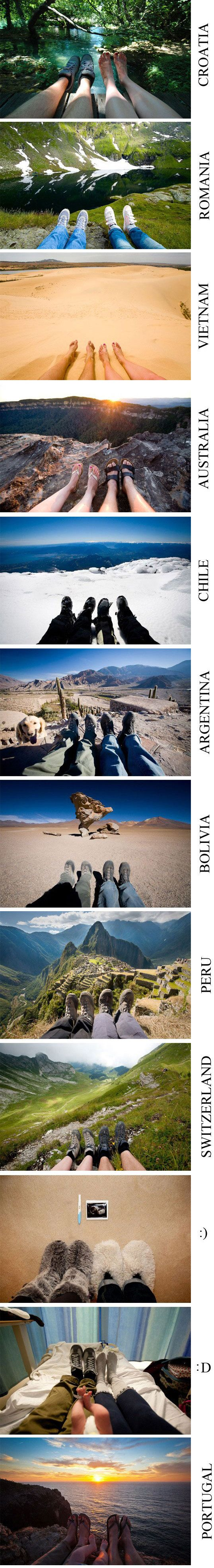 Photo Story with feet- it would be awesome to be wearing the same pair of shoes each time.