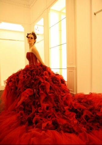Red Flower Wedding Dress