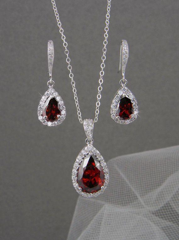 Roter Brautschmuck. Rote Kristall Hochzeit, Braut Ohrringe, Brautjungfern Schmuck, Ariel Brautschmuck SET   – Hochzeit
