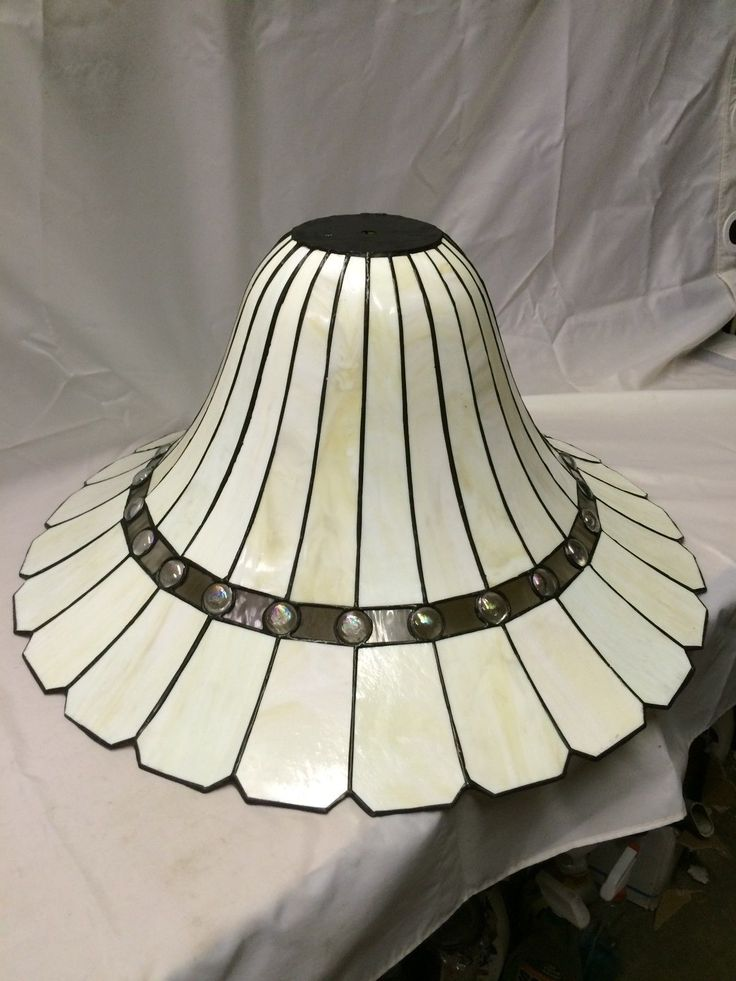 """Huge 30"""" w x 13"""" HT Bent Stained Glass Lamp Shade 