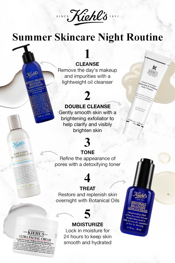 We Ve Got The Perfect Nighttime Routine To Keep Skin Clear Healthy Looking All Summer Double Cleanse Starting W An Oil Cleanser Dry Skin Routine Skin Care