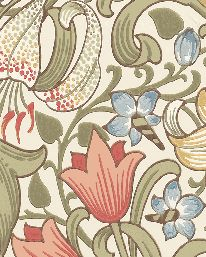 Tapet Golden Lily Green/Red från William Morris & Co