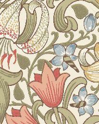 Tapet Golden Lily Green/Red från William Morris & Co