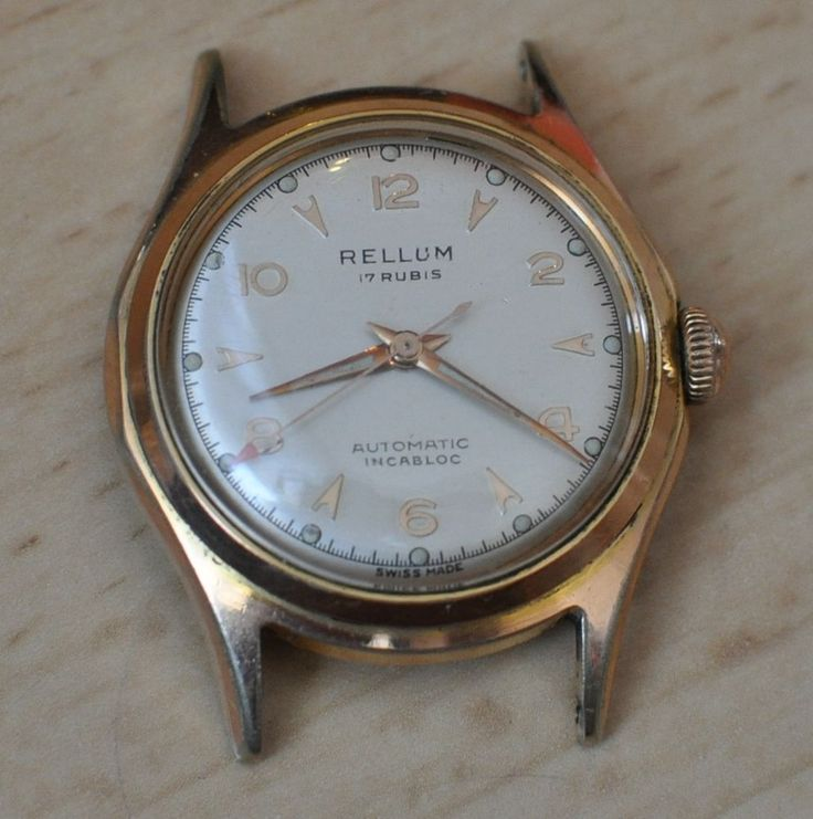 Working RELLUM AUTOMATIC Gold PLAQUE G10 Incabloc vintage 17 Rubis Swiss WATCH #Rellum