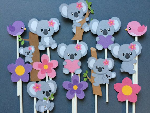 14 Koala bear cupcake toppers, koala bear, children's birthday pary, cupcake toppers koala bear