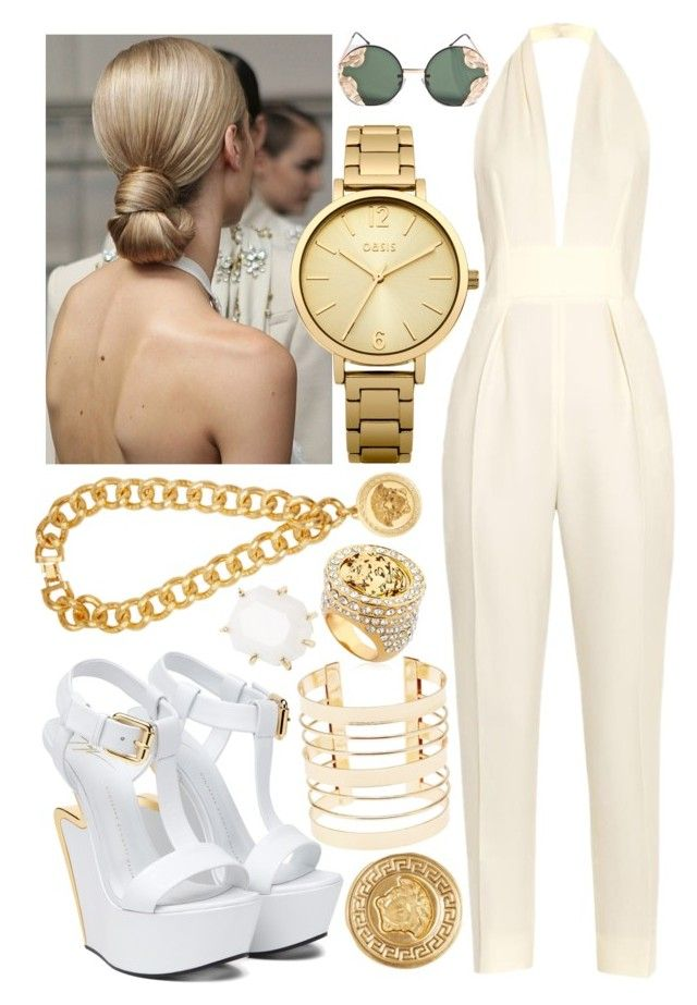 """""""The Sunlight Paints Us Gold"""" by blom-sofie on Polyvore featuring Versace, Gucci, Kendra Scott, Oasis, Spitfire, Giuseppe Zanotti and Charlotte Russe"""