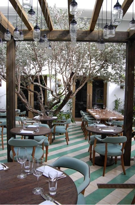 We've featured Mason jar lamps before (see Lighting: Mason Jar Light at Omega Too); we especially like them as outdoor lighting, as seen in the outdoor dining courtyard at Cecconi's Miami Beach at the Martin Brudnizki-designed Soho Beach House.