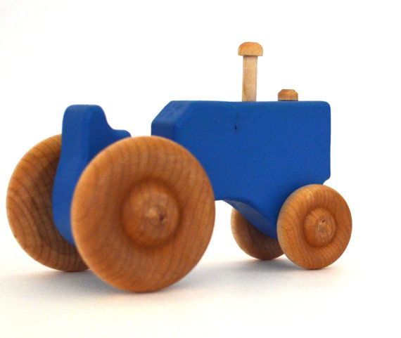 Trattore giocattolo in legno blu giocattolo di legno