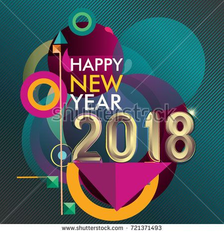 Happy new year 2018 colorful vector design, geometric background