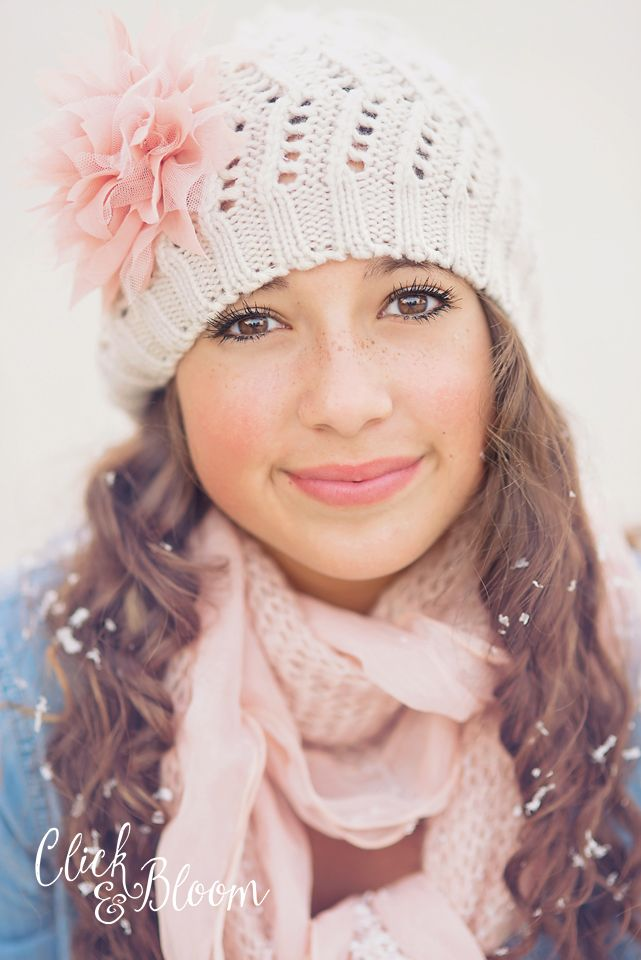 Click and Bloom Photography - Preteen - Teen - Poses.  It was summer when I took this photo, used concrete sidewalk behind her for white color and  threw fake snow at her...  added a cute hat & scarf and it's beautiful winter!  :)