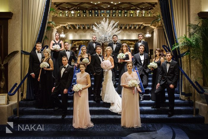 Gorgeous wedding bridal party photo inside the historic Chicago luxury Drake Hotel! Pink - blush Bridesmaids dresses. Fashion wedding Picture by Chicago wedding photographer: Nakai Photography www.nakaiphotography.com