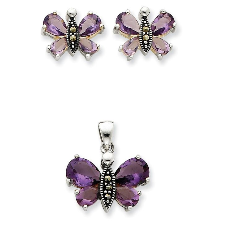 Sterling Silver Marcasite and Purple CZ Earring and Pendent Set – Goldia.com