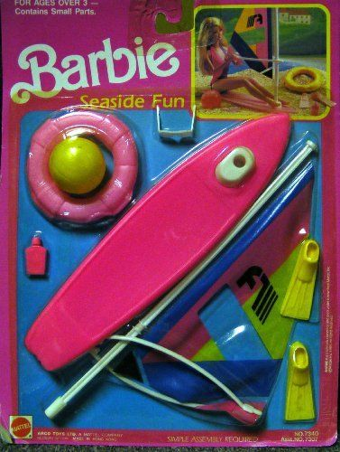 Barbie Seaside Fun Playset 1990 by Mattel. $48.88. sun glasses , flippers, tan lotion, and wind sail.. Barbie Seaside Playset , complete with water toys,. Rare Windsail Fun with Barbie Playset . Set also includes tan, lotion, sun glasses and wind sail.