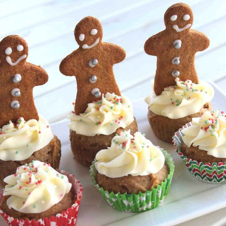 Yummy little gluten free ginger cupcakes, all dressed up for Christmas! They're also wheat free, dairy free, nut free, soy free and can be egg free.