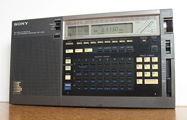 Own it. Love it! Sony ICF-2010 Receiver. Continuous coverage from 150 kHz to 30 MHz, plus VHF FM broadcast band and VHF aviation band AM (wide and narrow) plus SSB/CW modes. Synchronous tuning on AM. 32 memories that store frequency, mode and bandwidth. Various scanning modes in each band, plus user-defined scan limits. 4 timers to switch the radio on and off (useful for catching weather broadcasts). High reliability.