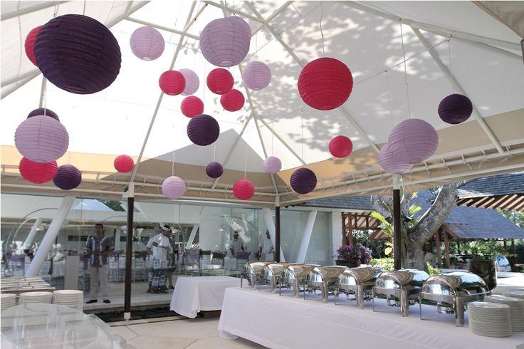 Pink and purple lampions above Buffet Station by Tirtha Bridal Uluwatu Bali