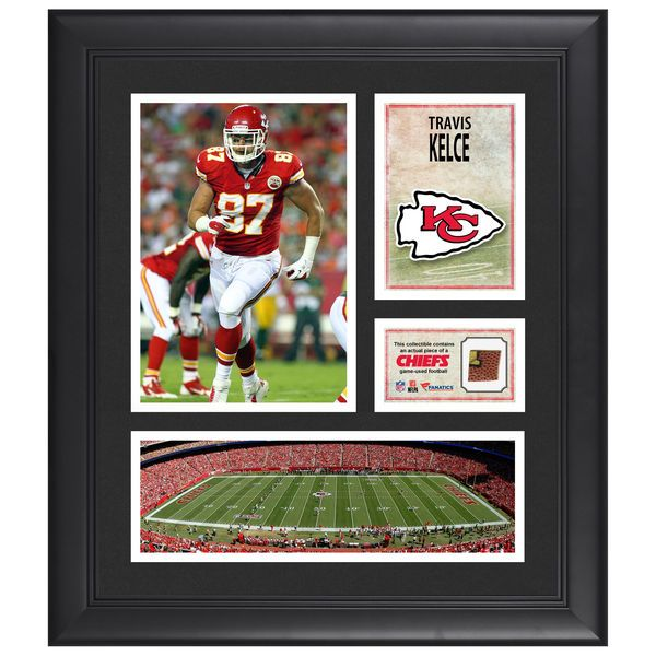 """Travis Kelce Kansas City Chiefs Fanatics Authentic Framed 15"""" x 17"""" Collage with Piece of Game-Used Football - $79.99"""