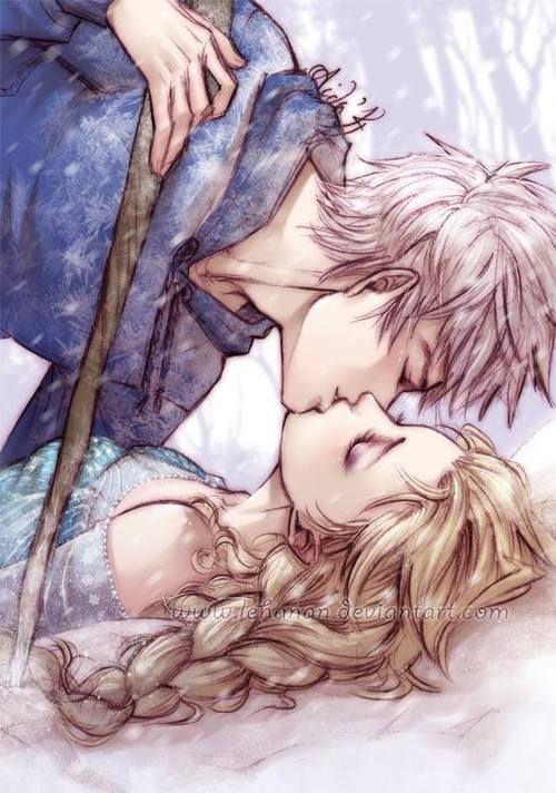 Jack and Elsa fan art (they would have gorgeous frost babies!)