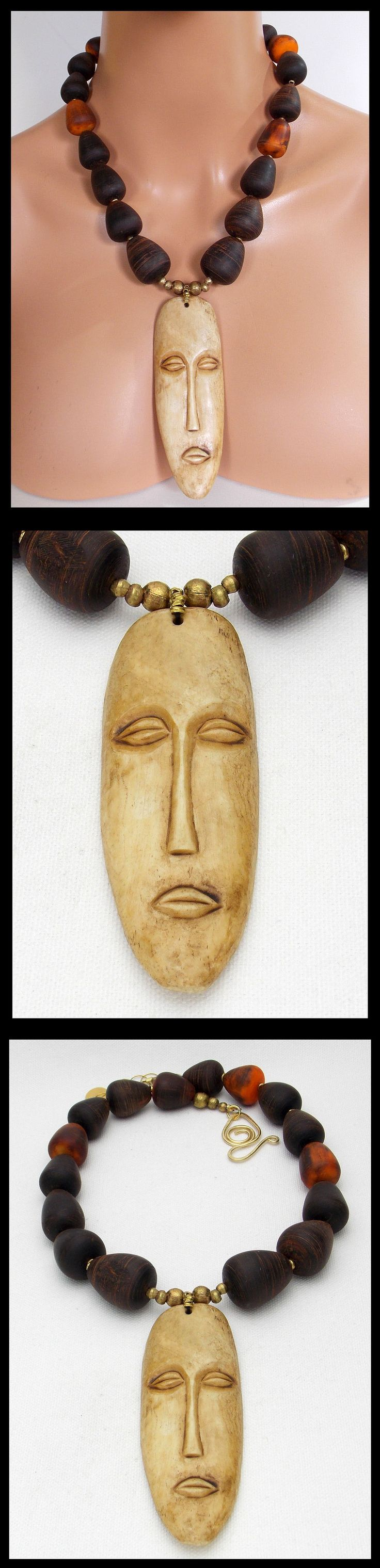 Necklaces and Pendants 98481: Lega Mask - Handcarved African Mask - Moroccan Bovine Horn Spindles Necklace BUY IT NOW ONLY: $198.0