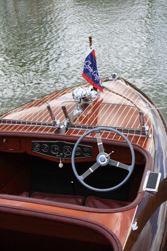 """the ultimate summer accessory~ 1939 Chris Craft 19 ft"" ~ @Caron's Beach House .. walnut covering boards accent this boat's deck ( a probable triple cocktpit )."
