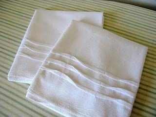 Tucked flour sack dish towels - so pretty and simple to sew!