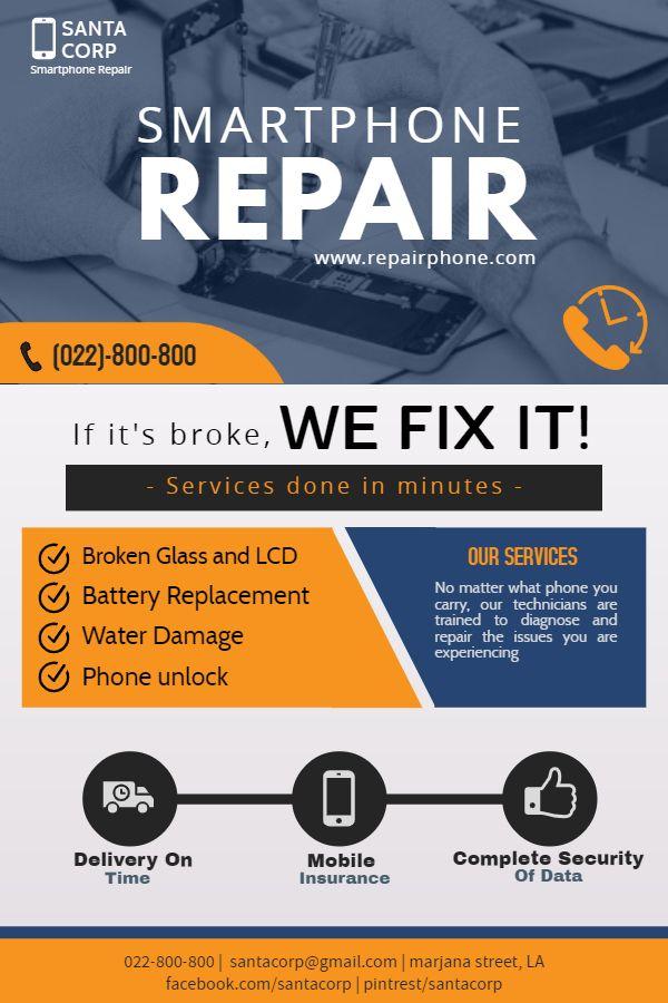 Phone Repair Shop Flyer Smartphone Repair Iphone Repair Phone Repair