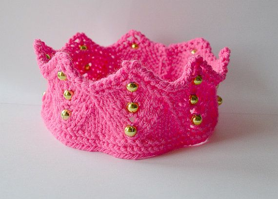 Pointy hot pink crownheadband  Knitted hand-made by DosiakStyle