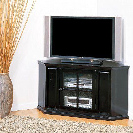 "$218 Leick Furniture 46"" Corner TV Stand, Black Rub: Kitchen & Dining"