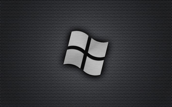 Hämta bilder Windows, logotyp, metallnät, konst, Microsoft