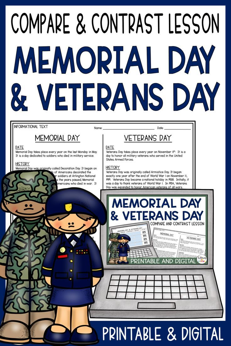 Memorial Day and Veterans Day Compare and Contrast Writing ...