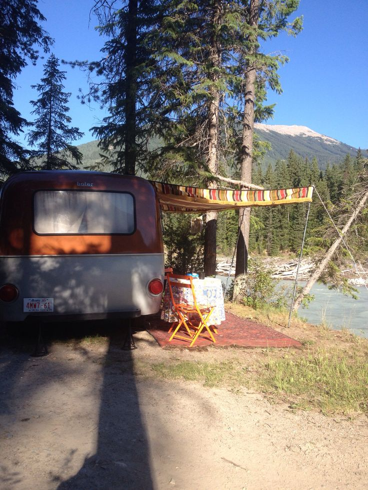 Set up right beside the Blaeberry River, B.C.