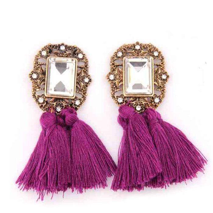 Purple Tassel Earrings #sale #earrings #purple #tassel